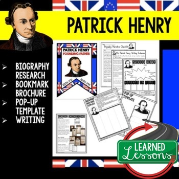Patrick Henry Biography Research, Bookmark Brochure, Pop-Up, Writing