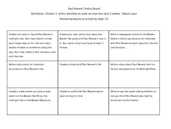 Paul Revere Choice Board