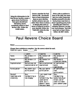 Paul Revere Choice Board with Rubrics