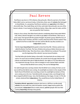 Paul Revere Close Read, Comprehension, and Writing Packet