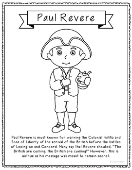 Paul Revere Coloring Page Craft or Poster with Mini Biography, Colonial