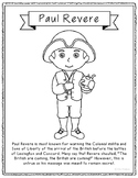 Paul Revere Coloring Page Craft or Poster with Mini Biogra