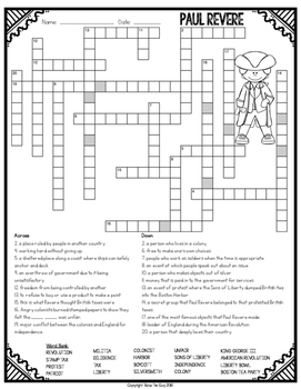 Paul Revere Crossword