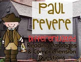 Paul Revere Differentiated Reading Passages Revolutionary War Leveled Texts