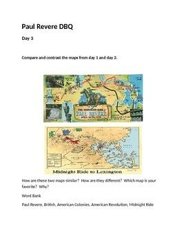 Paul Revere Midnight Ride Map DBQ
