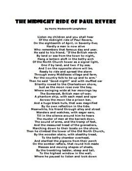 Paul Revere Poem: 3 lessons