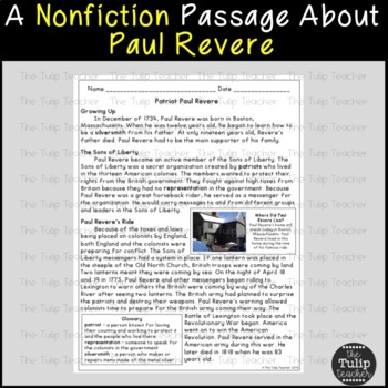Paul Revere Reading Comprehension Paired Passages