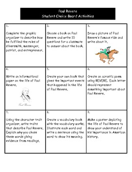 Paul Revere  - Student Choice Board