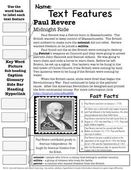 Paul Revere Text Features Page