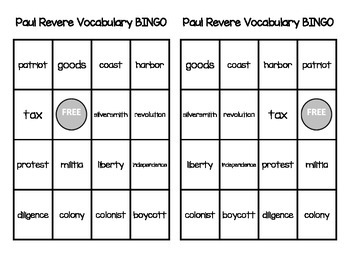 Paul Revere Vocabulary Pack