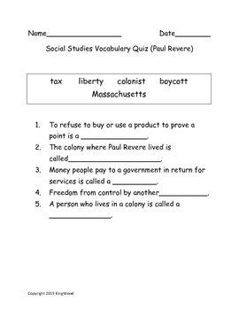 Paul Revere Vocabulary Test
