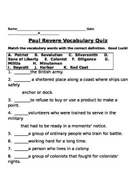 Paul Revere Vocabulary Words with Quiz