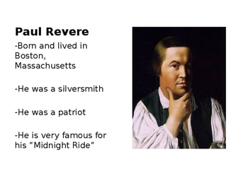 Paul Revere Word Wall Cards/ Vocabulary (Editable)