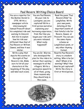 Paul Revere Writing Choice Board