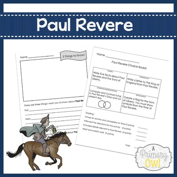 Paul Revere Writing and Choice Board