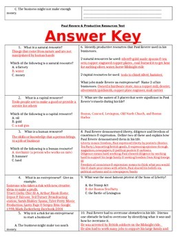 Paul Revere and Productive Resources Assessment and Study Guide