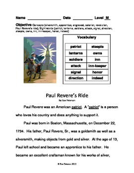 Paul Revere's Ride:  Second Grade Level M Reader