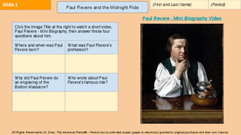 Paul Revere & the Midnight Ride Interactive Web Quest (PPTX for 1-to-1 devices)