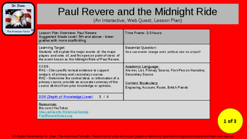 Paul Revere & the Midnight Ride Interactive Web Quest (PPT