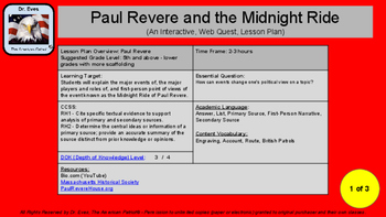 Paul Revere and the Midnight Ride Interactive Web Quest (P