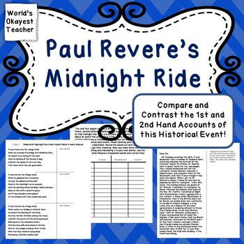 Paul Revere's Midnight Ride:Compare and Contrast 1st and 2nd Hand Accounts