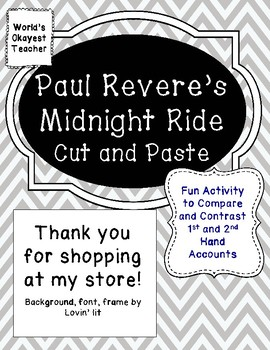 Paul Revere's Midnight Ride Cut and Paste