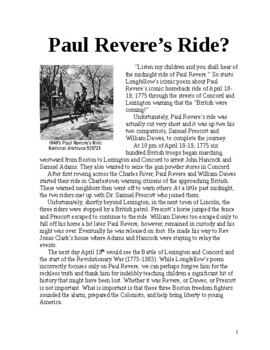 Paul Revere's Ride? 1 page literacy article w Questions