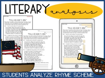 paul revere 39 s ride poetry analysis by literacy in focus tpt. Black Bedroom Furniture Sets. Home Design Ideas