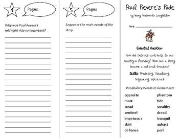 Paul Revere's Ride Trifold - Open Court 4th Grade Unit 5 Lesson 1