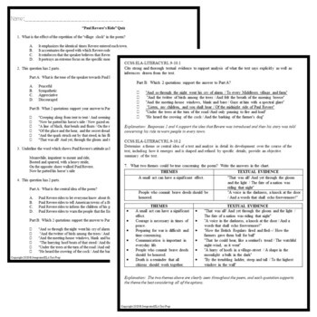 Paul Revere's Ride Quiz Pack: Poetry Comprehension Multiple Choice & Questions