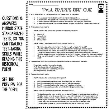 Paul Revere's Ride by Longfellow: Common Core Poetry Lesson, Quiz, Activities