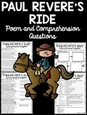 Paul Revere's Ride by Longfellow Reading Comprehension; American Revolution