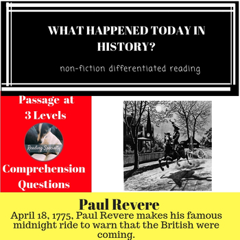 Paul Revere Differentiated Reading Passage April 18