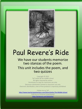 Paul Revere's Ride - A Poetry Activity