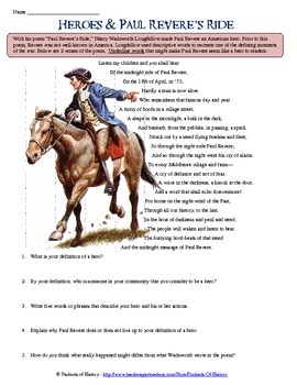 paul revere 39 s ride poem analysis worksheet by students of history. Black Bedroom Furniture Sets. Home Design Ideas