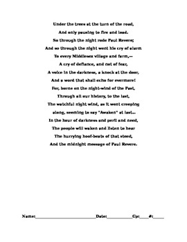 Paul Revere's Ride Poem(Except)-Cold Read