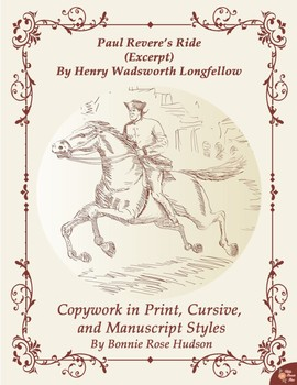Paul Revere's Ride by Henry Wadsworth Longfellow (Excerpt)-Copywork