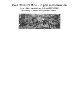 Paul Revere's Ride - in part - to memorize