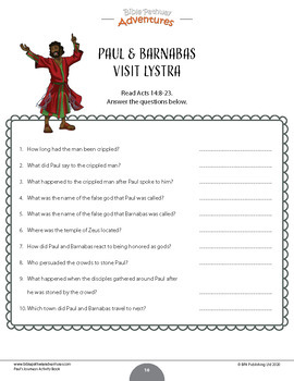 Paul the Apostle Bible Quiz Activity Book