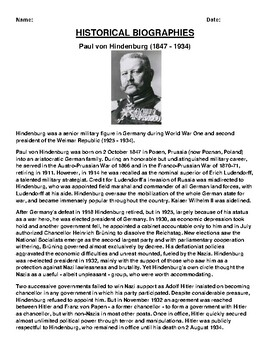 Paul von Hindenburg  Biography Article and (3) Assignments