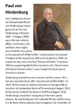 Paul von Hindenburg Handout
