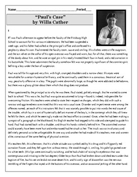 pauls case willa cather thesis