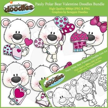 Pauly Polar Bear Valentine Doodles