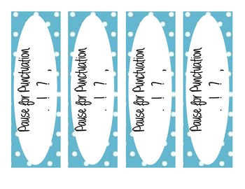 Pause for Punctuation Bookmarks - Improving Reading Fluency