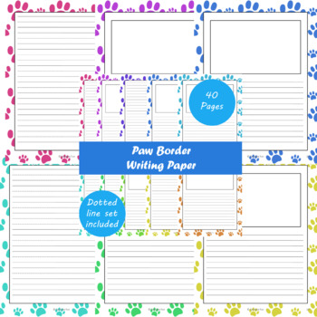 Paw Border Writing Paper