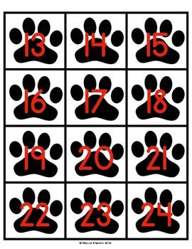 Paw Calendar Numbers FREEBIE