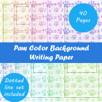 Paw Color Background Writing Paper