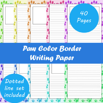 Paw Color Border Writing Paper