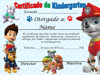 Paw Patrol Achivement Award English & Spanish version Editable!!!