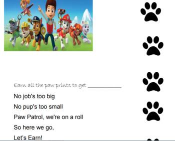 Paw Patrol Behavior Chart By Kastners Creative Corner Tpt